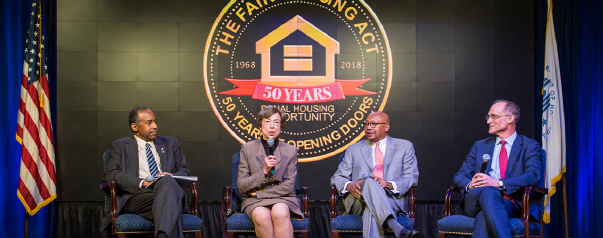 Current and Former HUD secretaries speak at 50th anniversary ceremony.