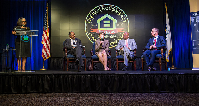 Current and Former Secretaries Speak at HUD Ceremony to Celebrate 50th Anniversary of Fair Housing Act.