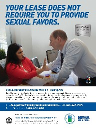 That's illegal poster describes how to recognize and report sexual harassment in housing.