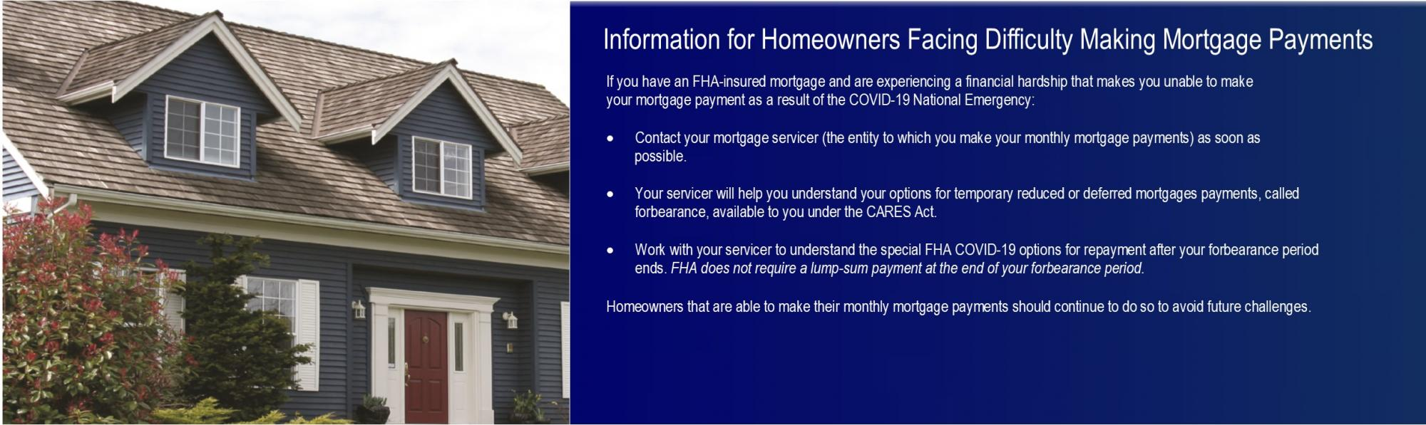[Information for Homeowners Facing Difficulty Making Mortgage Payments]. HUD Photo