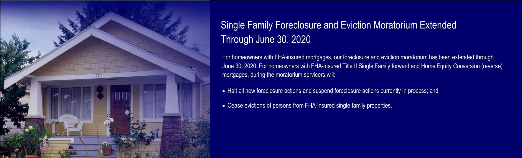 [Single Family Foreclosure and Eviction Moratorium Extended Through June 30, 2020]. HUD Photo