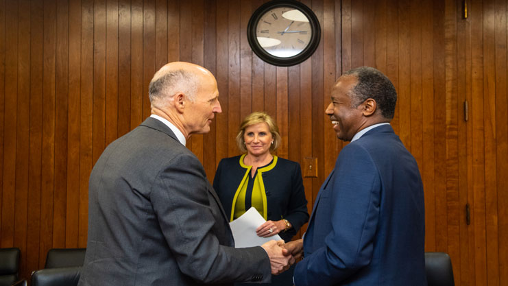 [Secretary Carson, Deputy Secretary Patenaude with Governor Rick Scott]. HUD Photo