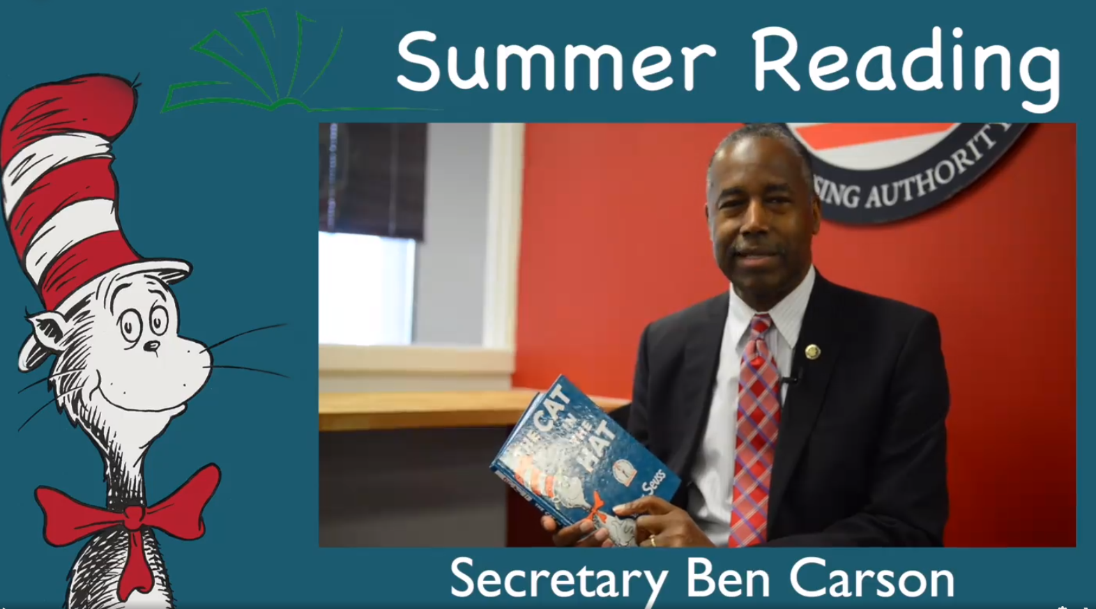 "[Secretary Carson Reads a Dr. Seuss classic, ""The Cat in the Hat""]"