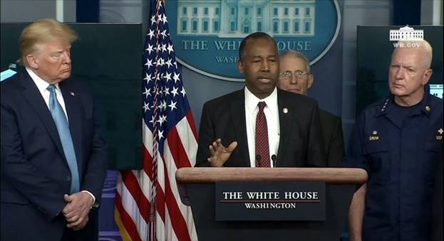 As a member of the White House Coronavirus Task Force, Secretary Carson provides an update on HUD's work to help families and individuals impacted by the outbreak during a press briefing. Photo By: The White House Livestream