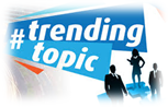 Three silhouettes of two males and a female with # trending topic over top of their head in a banner.