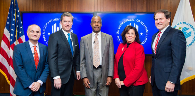 [(left to right): Assistant Secretary Len Wolfson; General Counsel J. Paul Compton, Jr.; HUD Secretary Ben Carson; Assistant Secretary of Administration Suzanne Israel Tufts; and Chief Financial Officer Irv Dennis]