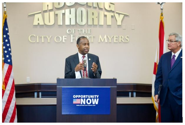 Secretary Ben Carson speaks at HOPE VI Community in a Fort Myers Opportunity Zone.