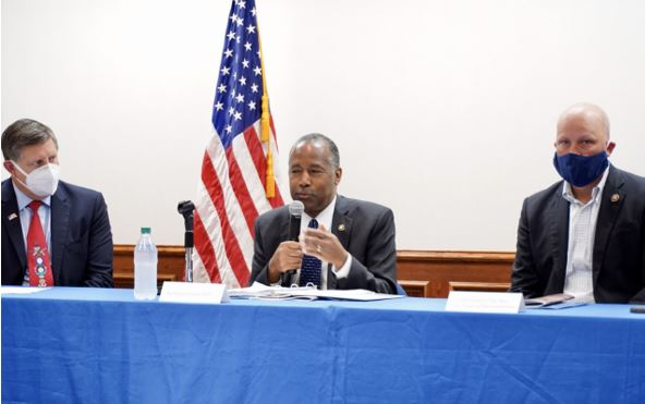 Secretary Ben Carson holds a roundtable discussion on the federal response to homelessness in Austin, Texas.