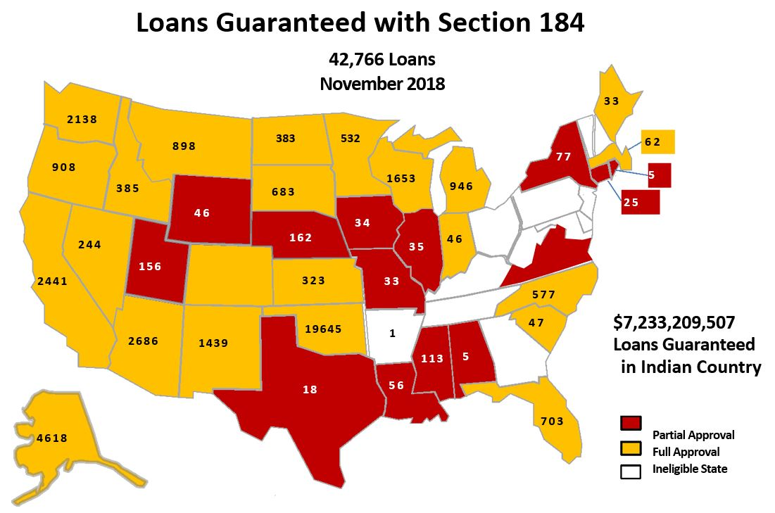 US Map with number of loans to date