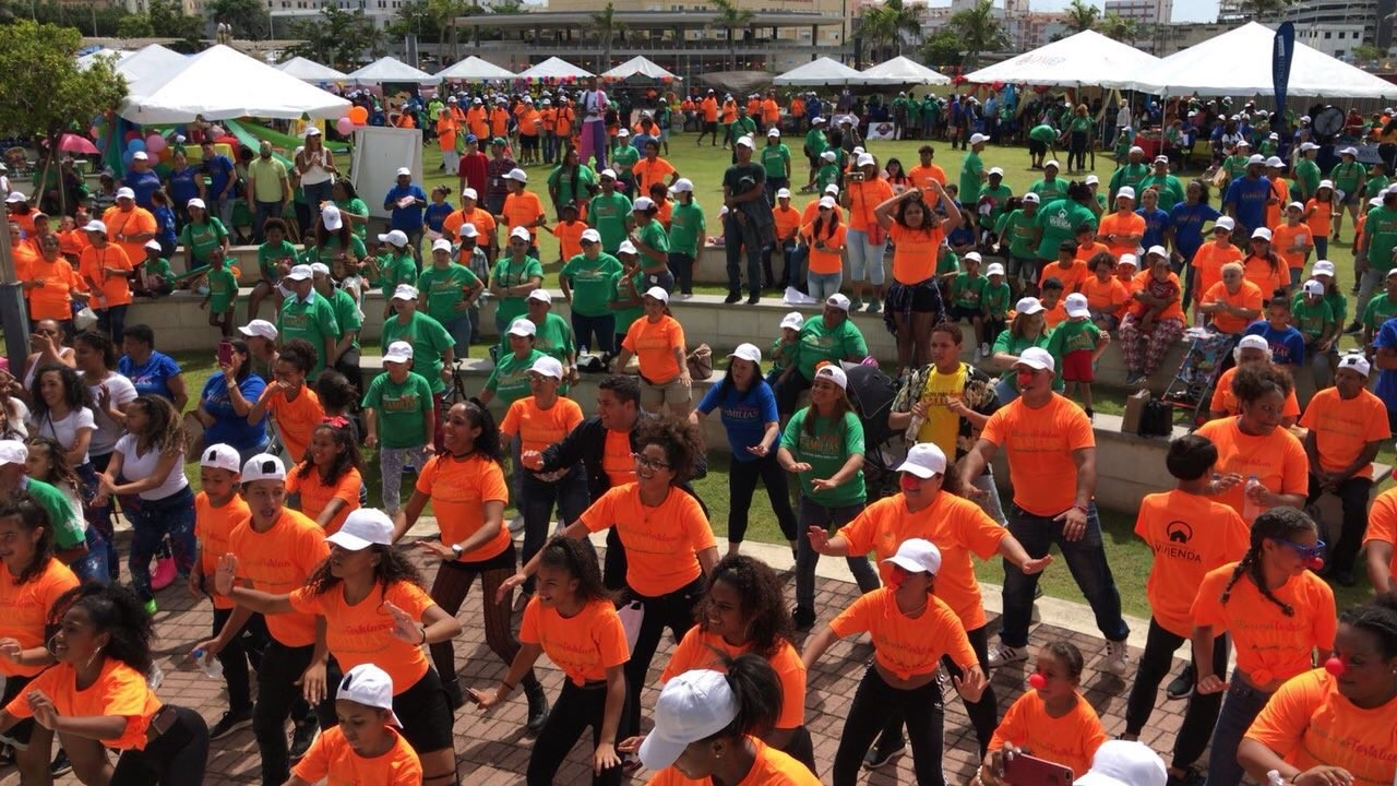 Families in Puerto Rico exercise together in one of four HUD Strong Families events. HUD Photo
