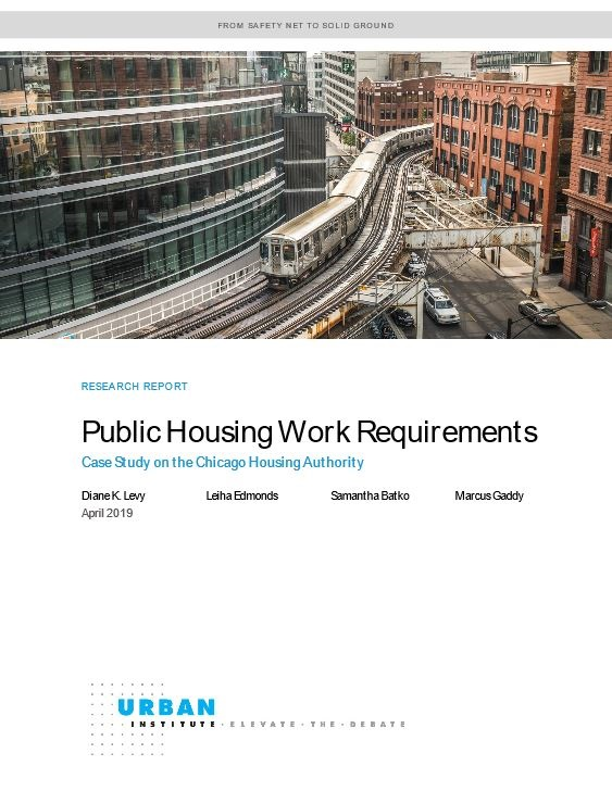Cover page of the Public Housing Work Requirements Urban Institute report