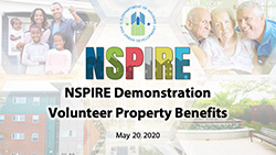 Screen capture of the NSPIRE Demonstration Volunteer Property Benefits Webinar title slide