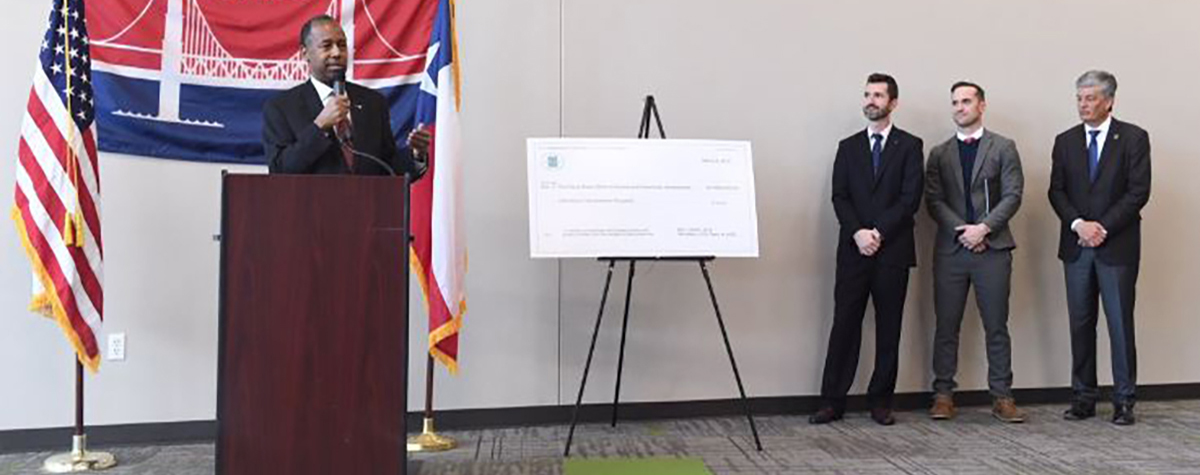 He presented Waco Mayor Kyle Deaver with a $1.5 million lead grant check.