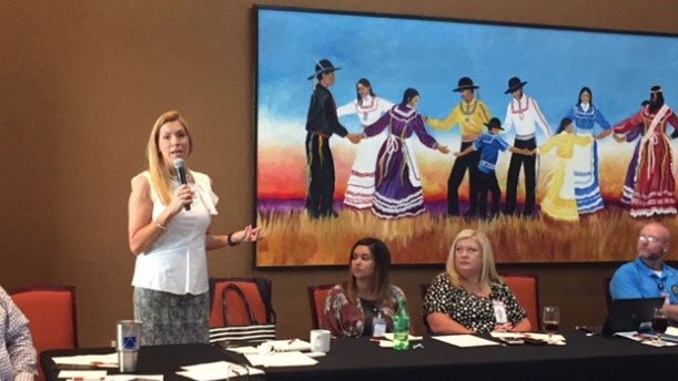 [SW Reg. Administrator Beth Van Duyne leads a Community Stakeholder Roundtable at the Choctaw Nation EnVision Center kickoff on 7/13].