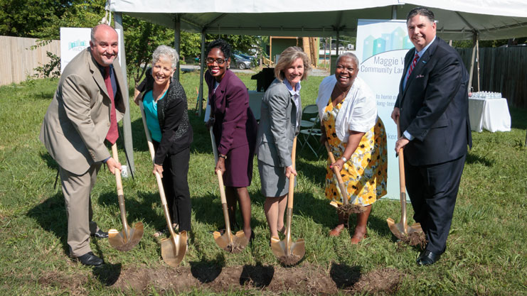 [Pictured from left to right, partners and board members of the Maggie Walker Community Land Trust including Project:HOMES CEO Lee Householder, Bon Secours Richmond Health System's Becky Clay Christensen, 7th District City Council Representative Cynthia Newbille, MWCLT Board Chair Laura Lafayette, Better Housing Coalition Board Member Freda Bolling and Virginia Credit Union President & CEO Chris Shockley. (Photograph courtesy of Ashley Luck)].