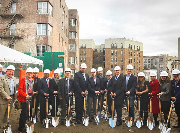 Regional Administrator Lynne Patton, New York City Housing Preservation and Development Commissioner Maria Torres Springer, New York City Housing Development Corporation President Eric Enderlin, Project Renewal President Mitchell Netburn, and others pose with shovels at the Bedford Green House groundbreaking. HUD Photo