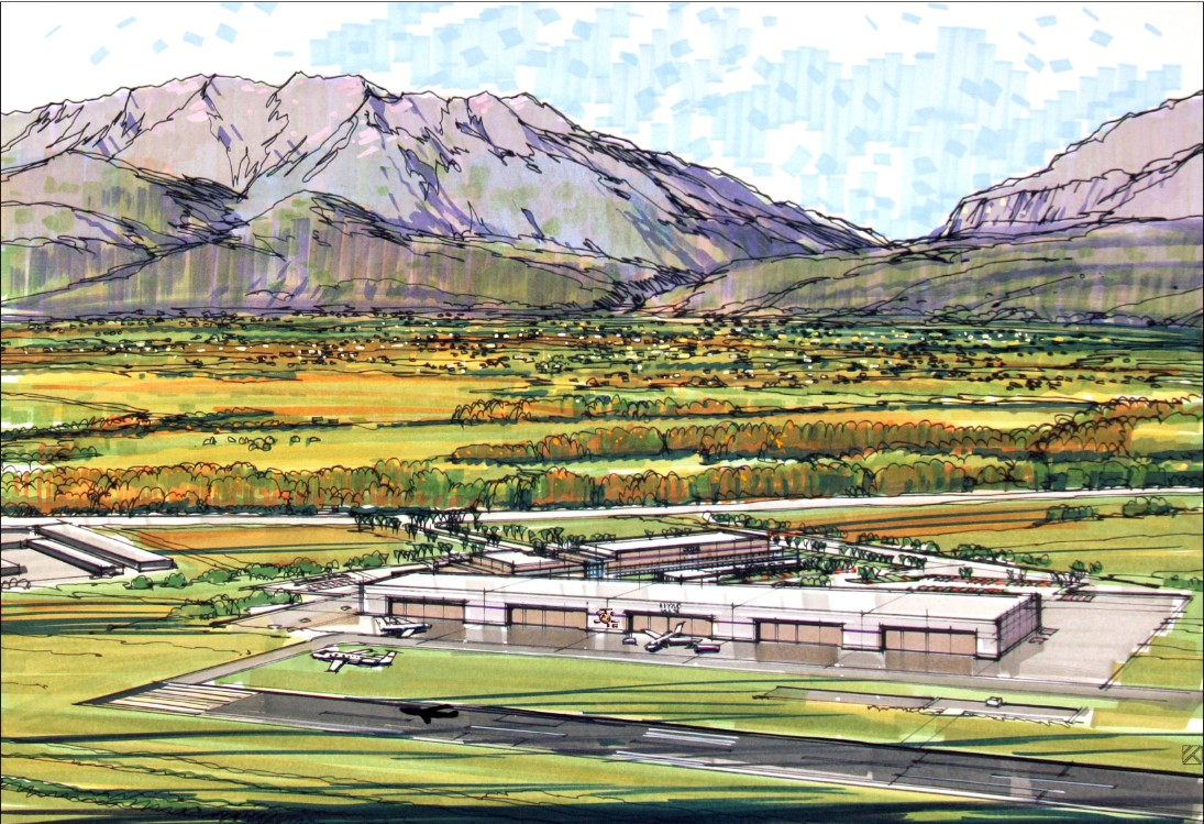 [Duncan Aviation Rendering-airplane hanger with mountains in background].