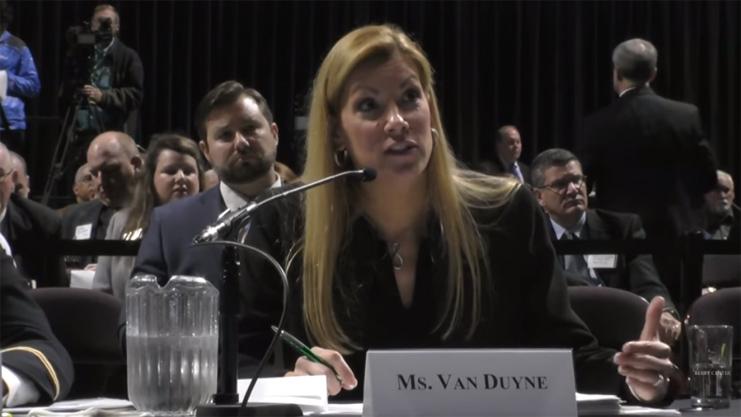 [HUD Regional Administrator Beth Van Dyne testifies before Housing Committee on Homeland Security]. HUD Photo