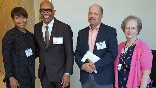 [Left to right - HUD Team members; Nzinga Wallace, Micheal German, Peter Ashley and Rachel Ray attend Smokefree Public Housing Workshop]. HUD Photo