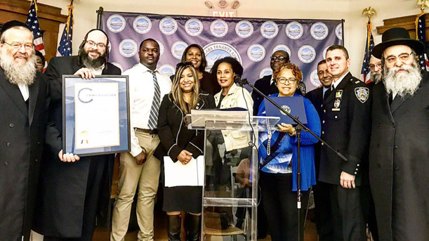 [Regional Administrator Lynne Patton poses for a photo with resident leaders and Public Advocate Letitia James at the Williams Plaza Tenants Association 50th Anniversary in Brooklyn, NY]. HUD Photo