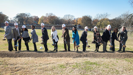 [Envision Cayce Groundbreaking: L-R- Craig Johnson of RG Anderson, Hunter Gee of Smith Gee Studio, Mona Hodge of Smith Gee Studio, Monique Odom of Metro Nashville Parks and Recreation, Jim Harbison Executive Director - MDHA, Mayor Megan Barry, MDHA Board Chair Ralph Mosley, HUD Regional Administrator Denise Cleveland-Leggett, Metro Councilman Brett Withers, Sernorma Mitchell of HUD, David Johnson of JJCA, Metro Councilman Karen Johnson, and State Representative Bill Beck.] . Photo Credit: MDHA