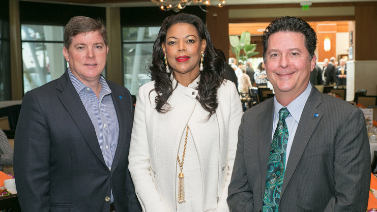 [From left, Argus Foundation incoming President Jack Cox, HUD Southeast Regional Administrator Denise Cleveland-Leggett, Argus Foundation out-going President Jeff Charlotte]