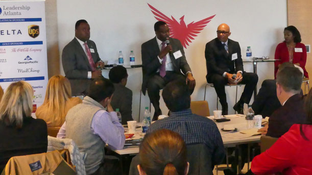 [From left to right: Vaughn Irons '16, CEO APD Solutions; Frankie Atwater Sr., Director, Dept Housing and Community Development, Fulton County, Michael German '91, GA Field Office Director, HUD and Che Watkins '09, President & CEO, The Center for Working Families.]. HUD Photo