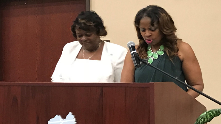 [Florence Housing Authority Executive Director Clamentine Elmore and Deputy Director Jennifer Manning highlight accomplishments during the 50th anniversary celebration of the Housing Authorities of Florence and Cheraw.]. HUD Photo