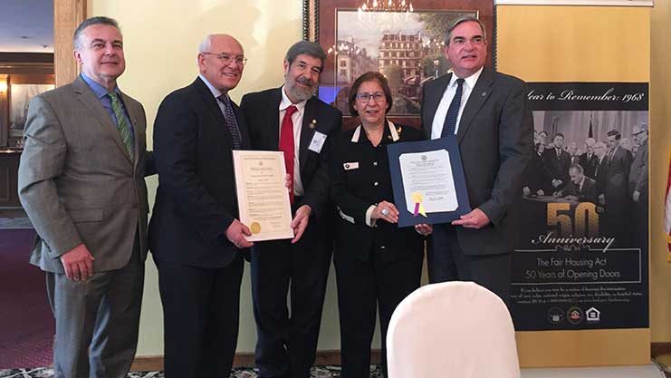 [Pictured l to r:  Buffalo FHEO Director Andrij Pryshlak; the Honorable Congressman Paul Tonko offering Fair Housing Proclamation to Jay Golden, Region II FHEO Director; Madame Assistant Secretary Anna Maria Farias receives Schenectady proclamation from Schenectady Mayor Gary McCarthy]. HUD Photo
