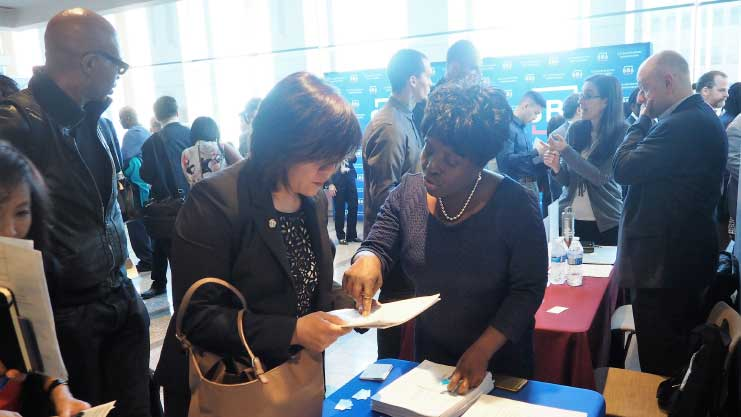 [HUD Senior Management Analyst Earleene Sealy at the 2018 International B2B and Small Business Resource Forum]. HUD Photo