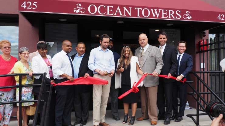 [HUD Regional Administrator Lynne Patton and HUD NJ Field Office Director Maria Maio-Messano join Jersey City Mayor Steve Fulop, The Michaels Organization's VPs of Development Jonathan Lubonski and Nicholas Cangelosi, and Jersey City officials at the reopening of Ocean Towers]. HUD Photo