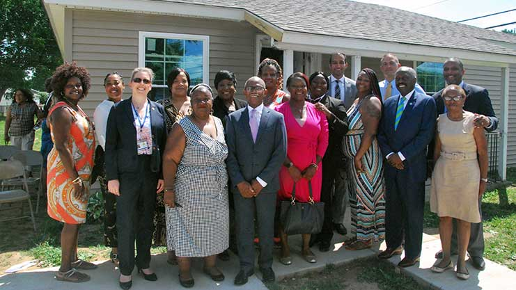 [On June 28, Region III Regional Administrator Joe DeFelice joined New Castle County Executive Matt Meyer, Wilmington Field Office Director Maria Bynum, state and county officials, housing counselors and homeowners as they marked National Homeownership Month by celebrating historic milestones in County-administered home ownership programs]. HUD Photo