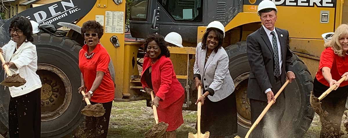 [Sanford Mayor Jedd Triplett, Sanford community leaders, Orlando Housing Authority Executive Director and HUD Jacksonville Field Office Director join the groundbreaking ceremony for Georgetown Square Apartments, which will replace demolished senior housing Redding Gardens]. HUD Photo