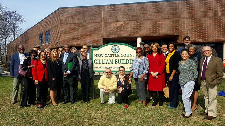 [Fair Housing advocates from across the First State gathered for the annual kick-off for Fair Housing Month at the James H. Gilliam Building in New Castle County, Del.]