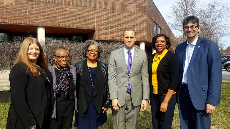 [New Castle County Council President Karen Hartley-Nagle, HOND Executive Director Gladys Spikes, Delaware Human Relations Commission Director Romona Fullman, Regional Administrator Joe DeFelice, Wilmington City Council Member-At-Large Rysheema Dixon and New Castle County Executive Matt Meyer pause for a photo.]