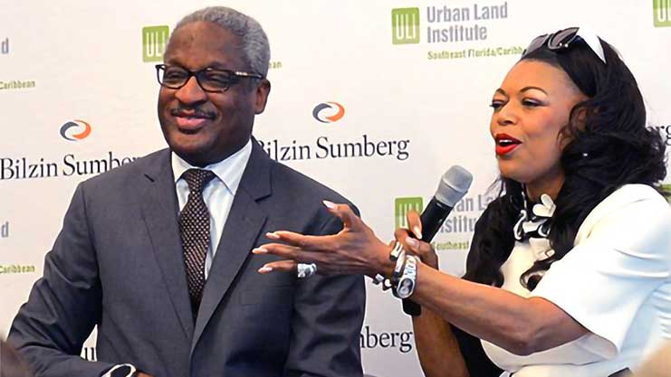 [At the forum organized by the Urban Land Institute in Miami about Opportunity Zones, Albert Dotson, Managing Partner at Bilzin Sumberg, moderated the fireside chat with HUD Southeast Regional Administrator Denise Cleveland-Leggett.]