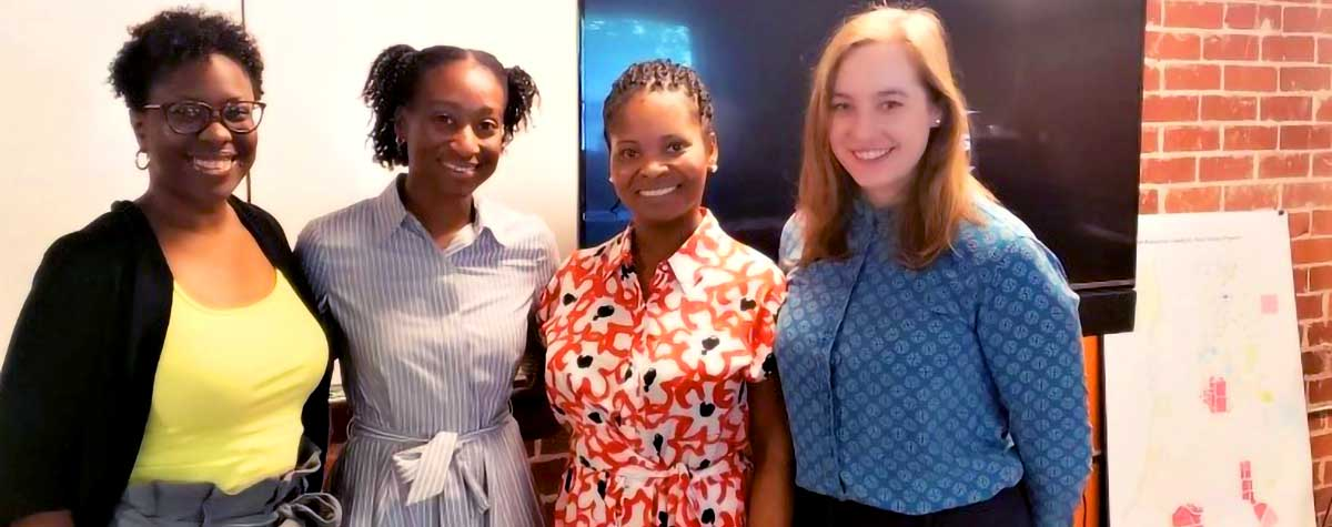 [(Left to right) Dr. Portia Hemphill (HUD FPM HQ), Clarke Henderson (VISTA), Johnnie Lattimore (HUD WPZ Community Liaison), Grace Baranowski (City of Atlanta/City Planning, Project Manager)]. HUD Photo