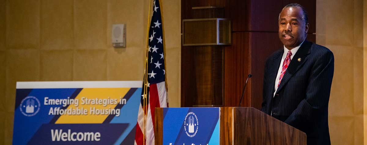 [HUD Secretary Ben Carson provides keynote address during Region IV Inaugural Emerging Strategies in Affordable Housing Expo]. HUD Photo