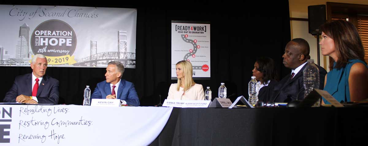 [Jacksonville Re-Entry Roundtable. From left, Vice President Mike Pence, Operation New Hope Founder/CEO Kevin Gay, White House Advisor Ivanka Trump, HUD Jacksonville Field Office Director Alesia Scott-Ford, Florida Blue North Florida President Darnell Smith, Florida's Fourth Judicial Circuit State Attorney Melissa Nelson]. HUD Photo