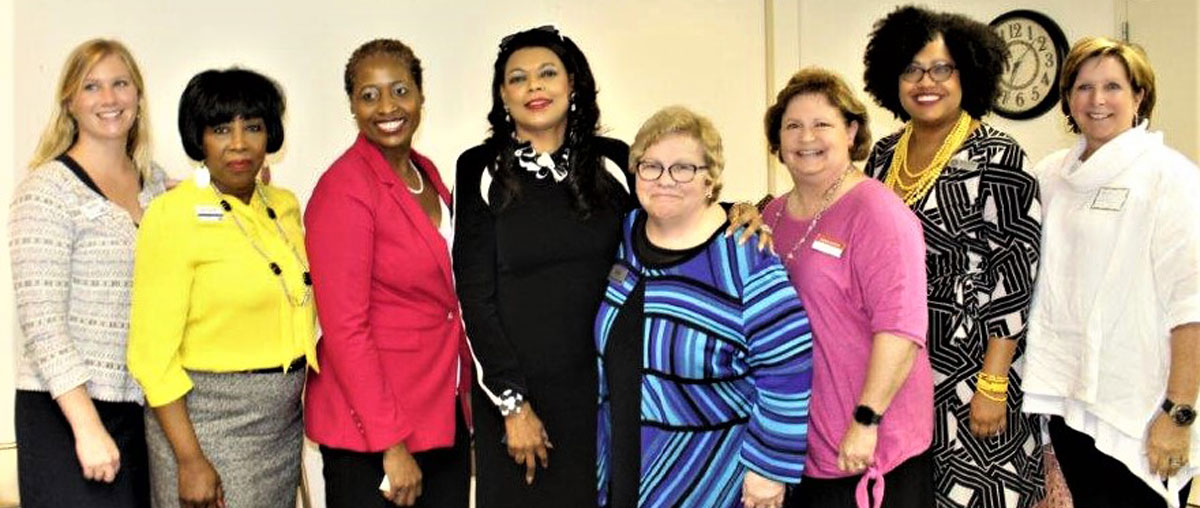 [Left to right - Dana Ullrich, United Way; Judy Woods - United Way; Delpha Bartley-Jones - VP, CRA Office AL- Valley Bank; Denise Cleveland-Leggett - HUD Southeast Regional Administrator; Pat Hoban-Moore - Interim CEO, YWCA Central Alabama; Jeanie Sosebee - Synovus Bank; Myeisha Hutchinson - Congresswoman Sewell's Office and Maggie Brooke - YWCA Central Alabama President, Board of Directors].  HUD Photo