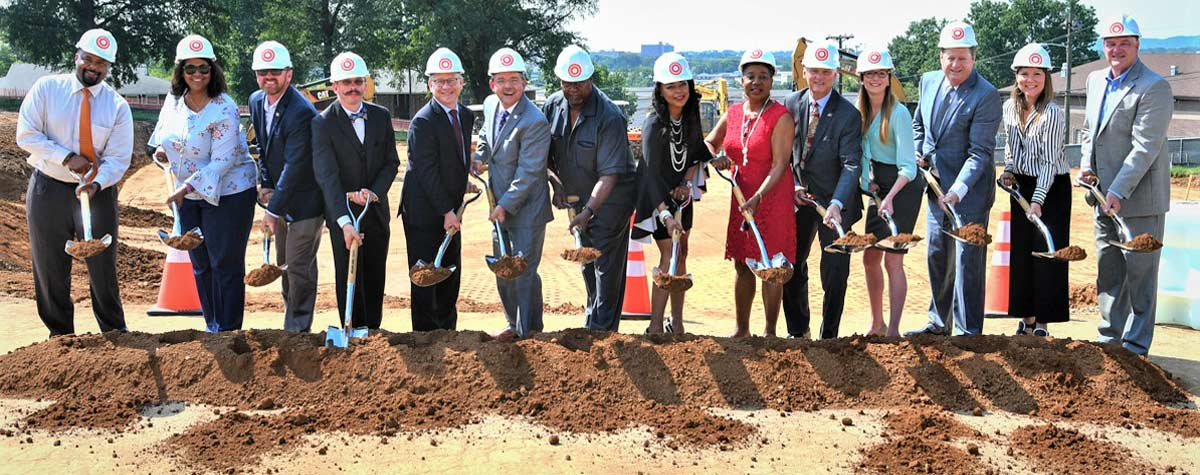 [Red Oak Flats at Cayce, Nashville, TN affordable housing groundbreaking by local leadership and HUD SE Regional Administrator Denise Cleveland-Leggett (seventh from the right) Photo courtesy MDHA]