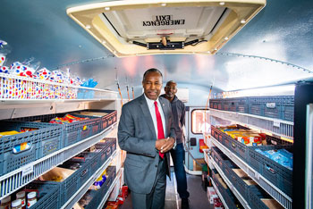[Secretary Carson tours the housing authority mobile grocery store.]