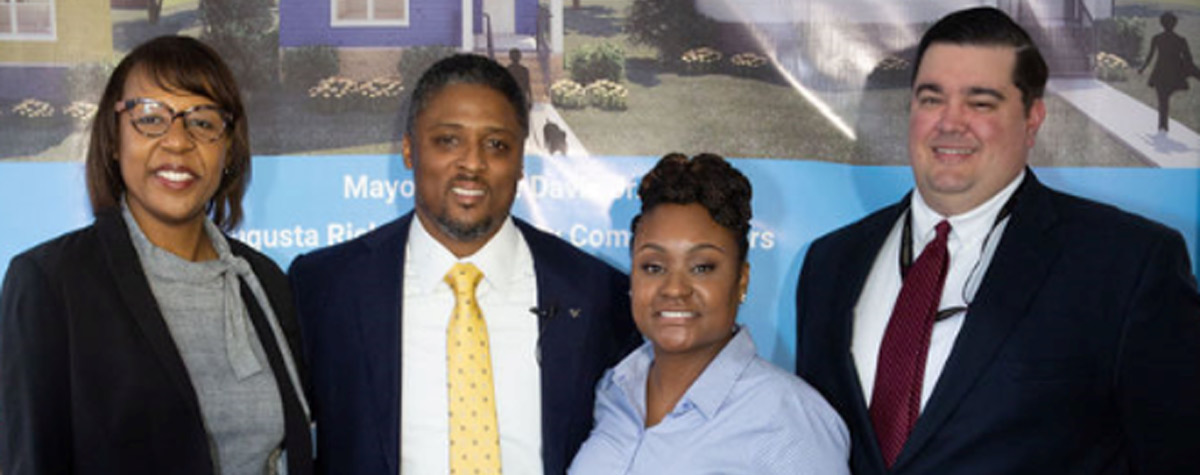 [left to right: Shea Johnson, HUD Georgia Director of Operations; Warrick Dunn, Founder of WD Communities and former NFL Player , Javalle Mcallister, HUD Georgia Office and Jason Becker, HUD Georgia Community, Planning and Development Office]. HUD Photo