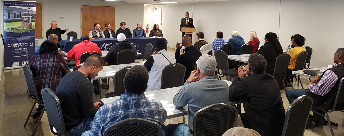 [Johnny Magee, mayor of City of Laurel, MS, greets the audience and highlights the housing authority  capital investment plans and upcoming opportunities for local contractors]. HUD Photo