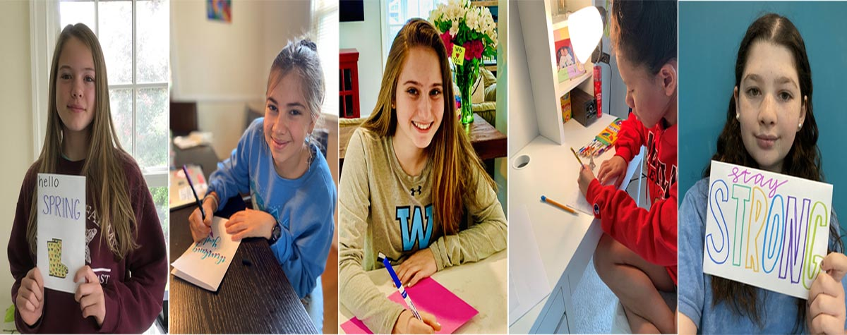 [Sarah Proestel was 'virtually' joined by classmates Arielle Gold, Jamie Furman, Daira Hu-Henderson and Clea Bergsman in making special handmade cards for some very special seniors at Newton Green. Missing from the photo are Becca Baker and Sydney Goldman]. HUD Photo