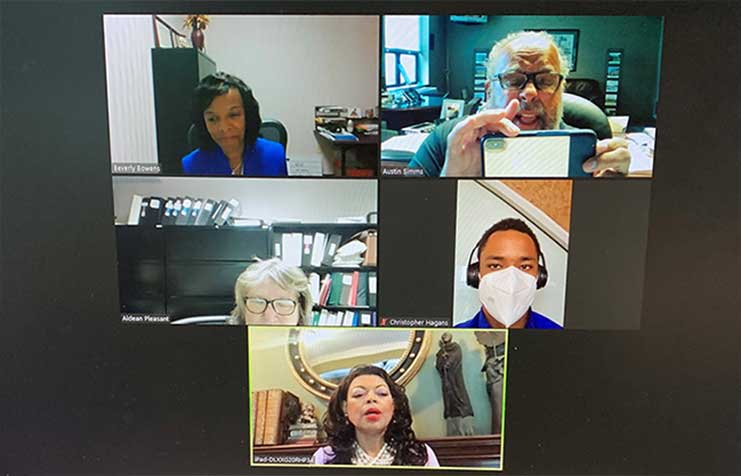 [HUD Region IV Administrator's congratulatory video call with KY FYI recipient and participants screen snapshot.]