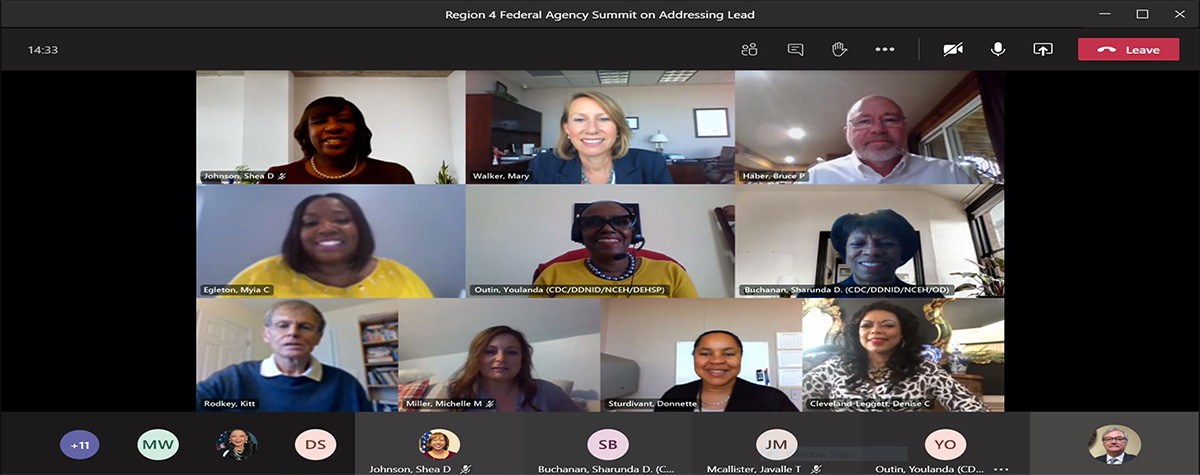 [Photo caption: Region IV Lead Force Task Force Virtual Summit leadership presentation and discussion from HUD's Office of Lead Hazard Control and Healthy Homes (OLHCHH) and Region IV, U.S. Environmental Protection Agency (EPA), the Centers for Disease Control and Prevention (CDC), Director of Priority Projects and Innovation, Immediate Office of the Director, National Center for Environmental Health/Agency for Toxic Substances and Disease Registry]. HUD Photo