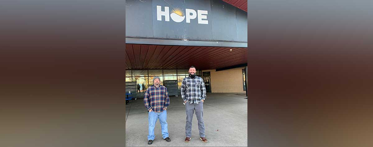 [Dustin Louthen and Jason DeZarn make up the Street Outreach Team for the Hope Center EnVision Center]. Photo provided by the Hope Center EnVision Center.