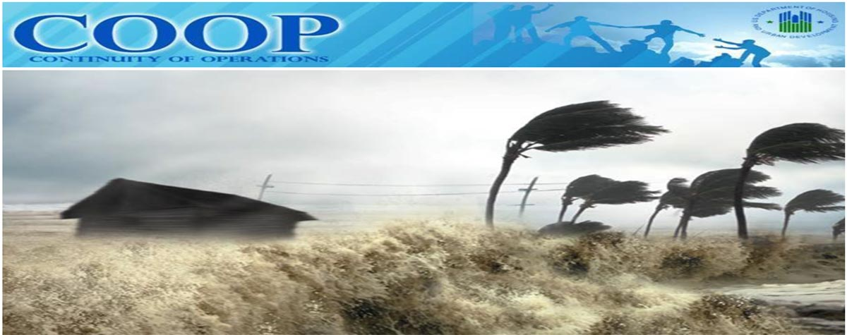 [A shed and swaying palm trees being hit by heavy wind. A blue banner on the top states: 'COOP Continuity of Operations' with the HUD logo being present].