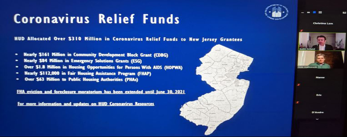 [PowerPoint slide showcasing Newark Field Office Director Justin Scheid presenting on HUD COVID-19 relief funds. The slide is blue and contains a map of New Jersey with funding amounts listed that HUD allocated during the pandemic to the State. The total allocation is $310 million].